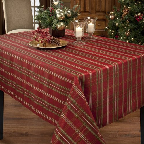Benson Mills Christmasville Metallic Fabric Tablecloth, 60-Inch-By-120 Inch