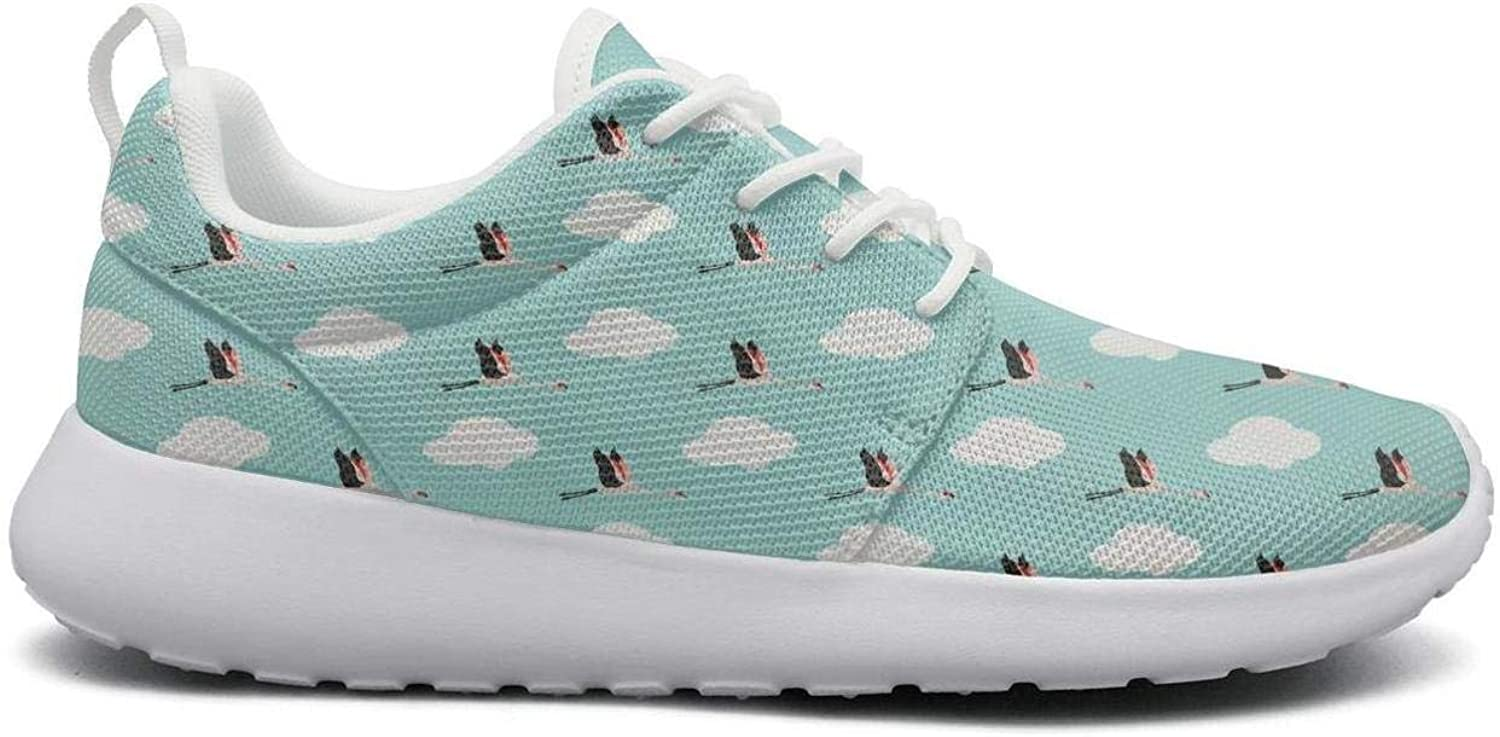 Gjsonmv Flying Flamingos mesh Lightweight shoes for Women Non Slip Sports Track Sneakers shoes