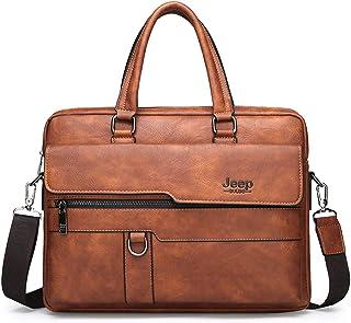 JEEP BULUO Men Business Briefcase Leather Bag 13.3 inch Laptop Case(Orange)