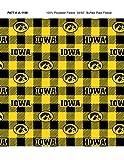 University of Iowa Fleece Blanket Fabric-Iowa Hawkeyes Fleece Fabric with Buffalo Plaid Design