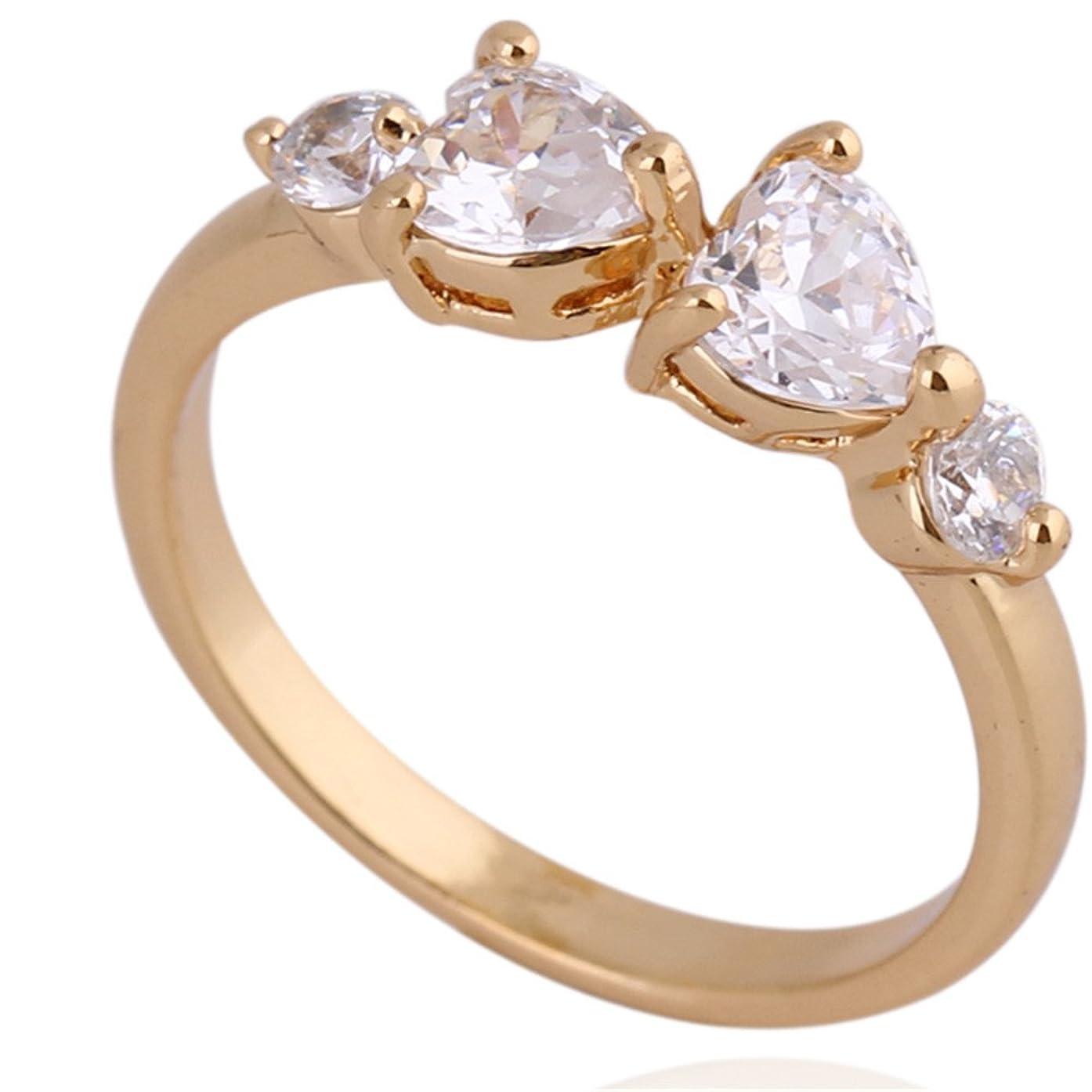 誇り歯痛ゴールOAKKY ヨーロッパスタイル レディース 金メッキ リング ハートのAAAグレードジルコン 婚約、結婚 指輪 サイズ 19
