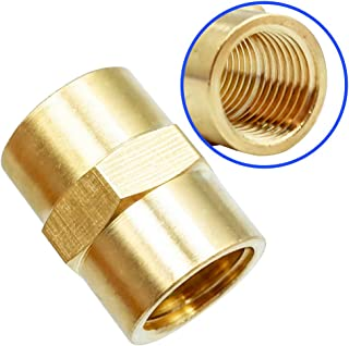 Pipe Fitting and Air Hose Fitings, Hex Nipple Coupling Set - 1/4-Inch NPT x 1/4-Inch NPT,Solid Brass,Female Pipe- 10 Piece