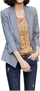 Howely Women's Loose Casual Office Slim Lapel Stripe Small Blazer