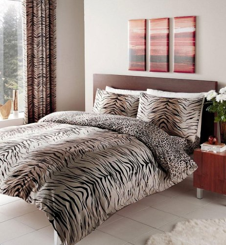 HOMEMAKER BEDDING BROWN DOUBLE SIZE ANIMAL PRINT DUVET COVER SET