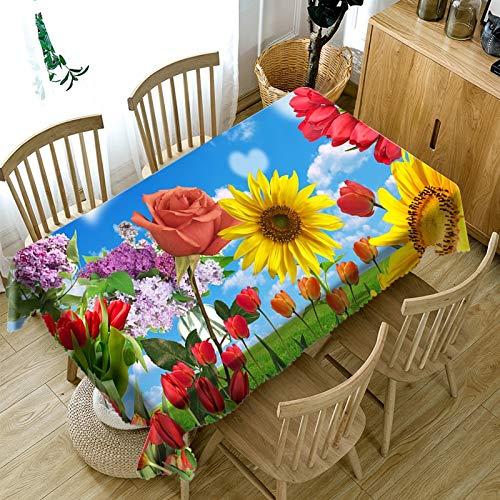 Mantel rectangular estampado Creatividad Impresión 3D Daisies Y Rosas Hogar Decorativo Lino Manteles Resistente Al Agua Resistente Al Agua Decoraciones Home Mesa De Mesa Decorativa Resistente