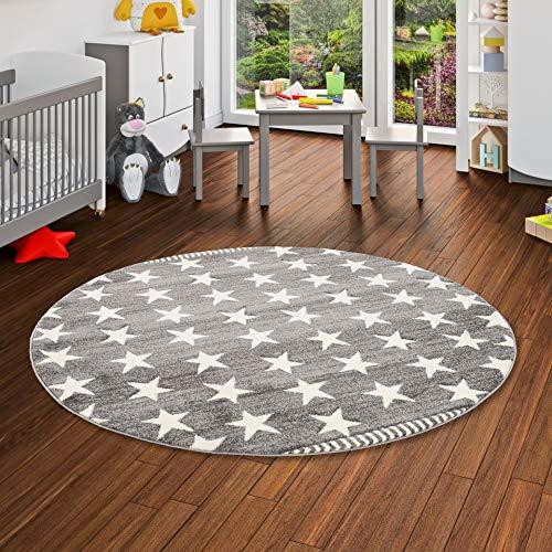Savona Kinder und Jugend Teppich Grau Creme Sterne Rund in 3 Größen