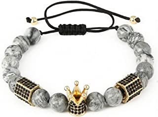 b034c19b6319 HUSHOUZHUO Moda 8 Mm Marble Stone Bead Color Oro Micro Pave Corona Negro Y  Hexagonal Charm