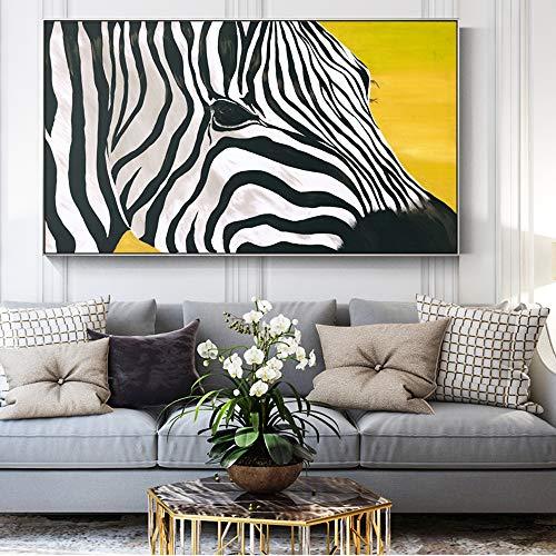 ganlanshu Rahmenlose Malerei Schwarze und weiße Zebra-Pop-Art auf modernem abstraktem Leinwandwandkunstplakat auf Wand 50X100cm