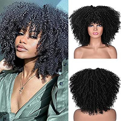 RunM Short Curly Afro Wig With Bangs for Black Women Kinky Curly Hair Wig