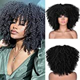 RunM Short Curly Afro Wig With Bangs for Black Women Kinky Curly Hair Wig Afro Synthetic Heat Resistant Full Wigs(Black)