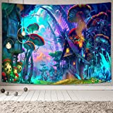 NYMB Psychedelic Mushroom Tapestry Fantasy Plant Magical Forest Tapestry Trippy Electric Forest Art for Home Decor Wall Hanging Tapestry Wall Art Decor Tapestries for Bedroom Living Room Dorm