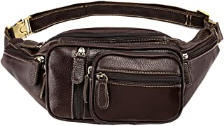 Oivias Waist Pack-Men's Waist Bag, Vintage Leather Multi-Function Business Chest Bag, Crossbody Bag, Casual Fashion Shoulder Bag for Walking, Travel(Size:21 * 12 * 11cm) (Color : Brown)
