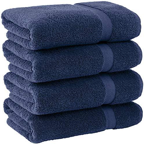White Classic. - Juego de 4 toallas de baño, de algodón de lujo, color blanco, clásicas, grandes, muy absorbentes, colección hotel y spa, 27 x 54 pulgadas