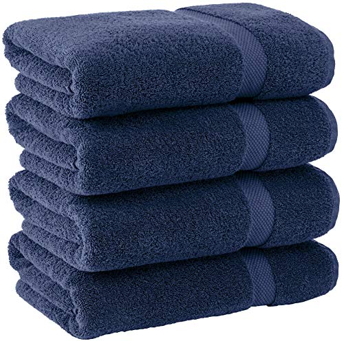 White Classic Luxury Cotton Bath Towels Large - | Absorbent Hotel Collection Bathroom Towel | 27x54 Inch (Navy Blue, 4 Pack)