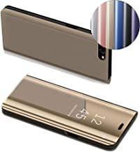 HMTECH Huawei P10 Lite case Design Clear View Slim Luxury Shiny Electroplate Plating Mirror Full Body Protective Flip Folio Stand Cover for Huawei P10 Lite PU Mirror:Golden MX