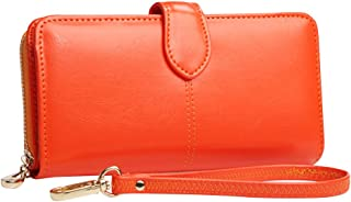 Wiwsi Fashion Wax Leather Purse Clutch Wallet Women Large Capacity Purse Bag New