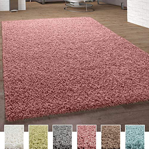 Paco Home Shaggy Teppich Hochflor Langflor Hochwertig Hohe Fadendichte Uni Pastell Pink, Grösse:140x200 cm