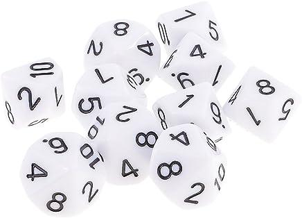 Sharplace Set de 10pcs Dés Chiffres 10 Faces Dice D10 16mm pour Jeux de Rôle KTV Club - Blanc