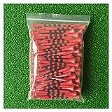 MWQCEW 100 unids/Bolsa de bambú Zapatos de Golf Wite Rojo con Escala de Rayas Negras 70 mm 83mm Accesorios de Golf 2 Tamaño Nueva Camiseta de Golf colorfl para Estudiantes, jóvenes