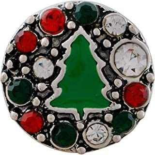 Rockin Angels Silver Red Green Rhinestone Christmas Tree 12mm Mini Petite Snap Charm for Ginger Snaps
