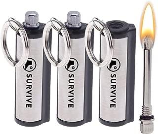 SURVIVE Permanent Match, 3 or 5 Pack, The Forever Lighter, Emergency Fire Starter Striker Set, Metal Keychain Unlimited Waterproof Stick