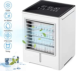 Mini aire acondicionado portátil, refrigerador evaporador, humidificador, purificador, refrigerador de aire, climatizador Air Cooler con 3 velocidades 1/2/4H temporizador para casa, oficina, caravana