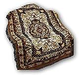"DaDa Bedding Elegant Tapestry Throw Blanket - Royal Persian Rug Golden Opulence - Decorative Damask Floral Cottage Woven Stitched Design - 50"" x 60"" (7175)"