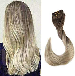 Fshine 20 inch Clip in Hair Extensions Color #8 Light Brown Fading to #60 White Blonde Full Head Real Human Hair Extensions Dip Dyed 120gram 10Pcs Per Set