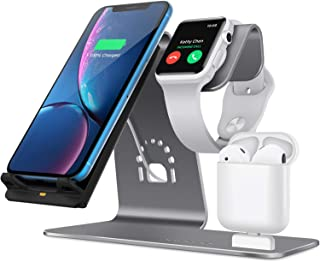 Bestand 3 in 1 Aluminum Stand for Apple iWatch, Charging Station for Airpods, Qi Fast Wireless Charger Dock for Apple iWatch/iPhone X/8 Plus/8, Samsung S8, Grey