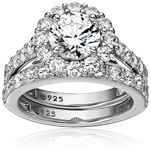 Amazon Collection Platinum-Plated Sterling Silver Flower Halo Ring set with Swarovski Zirconia (2.9 cttw), Size 8