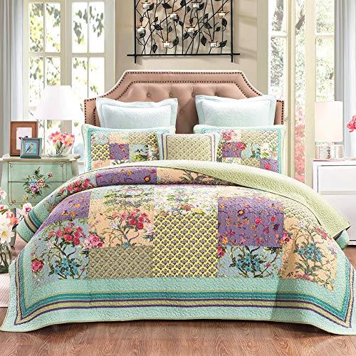 Best Bargain YAYIDAY Cotton Patchwork Bedspread Botanical Quilt Sets King Size Summer Bedding - Reve...