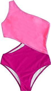 SweatyRocks Women's Bathing Suits One Shoulder Cutout One Piece Swimsuit Swimwear Monokini