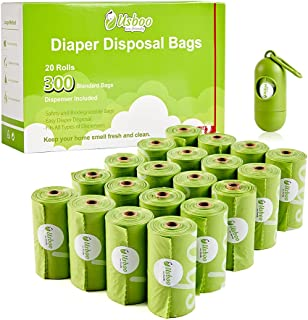Disposable Diaper Bags for Baby, 20 Refill Rolls/300 Bags Oxo-Biodegradable Waste Bags with Dispenser, Convenient and Quic...