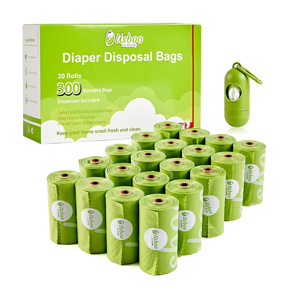 Disposable Diaper Bags for Baby, 20 Refill Rolls/300 Bags Oxo-Biodegradable Waste Bags with Dispenser, Convenient and Quick Diaper Disposal, Unscented