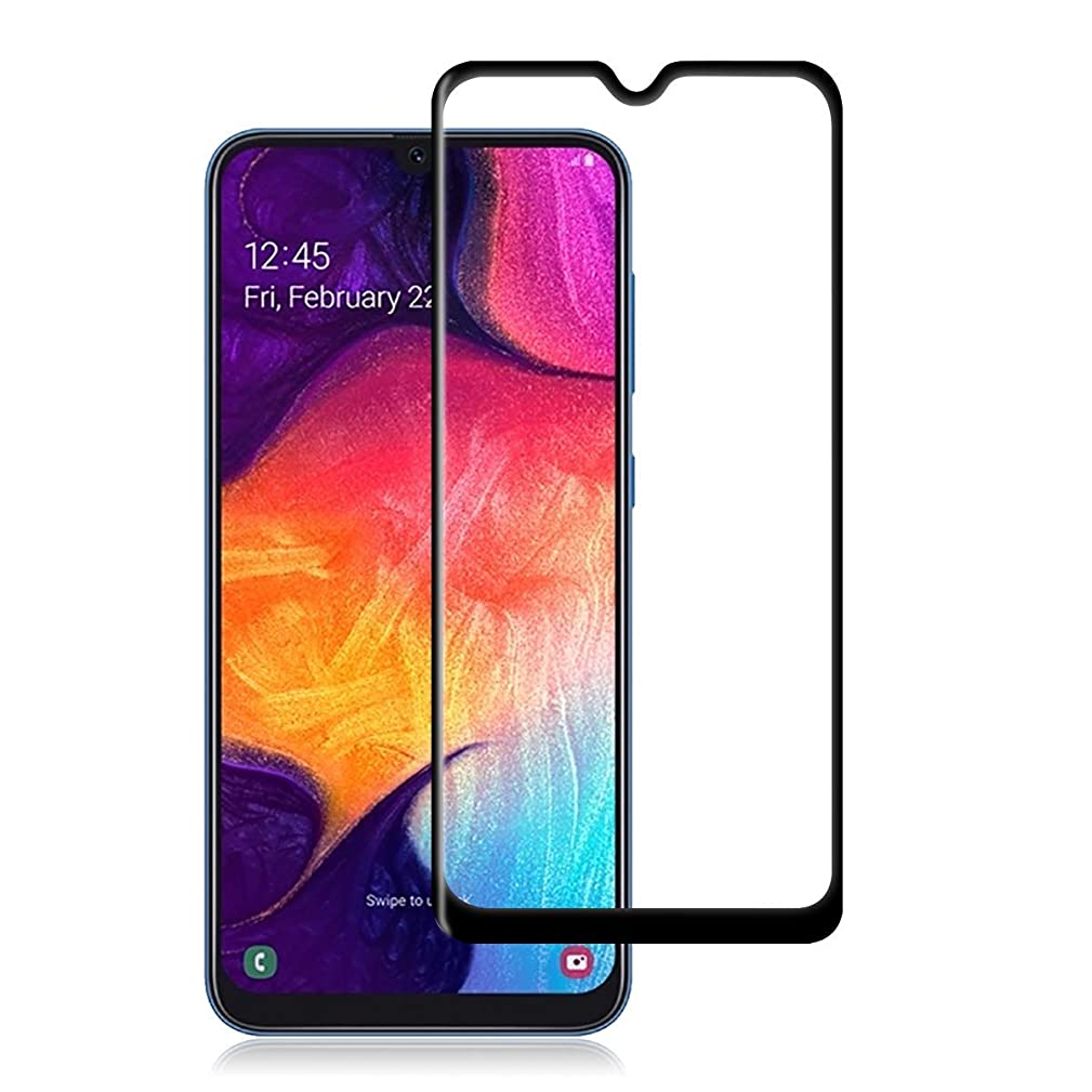 Toppix Tempered Glass for Samsung Galaxy A50 Screen Protector, [Case Friendly] [Bubble Free] [Anti-Fingerprint] 9H Full Screen Glue Glass Film for Samsung Galaxy A50 (Black, Clear)