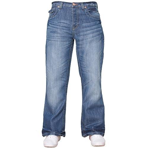 d44f334691f APT Mens Basic Blue Bootcut Wide Leg Flared Work Casual Jeans Big