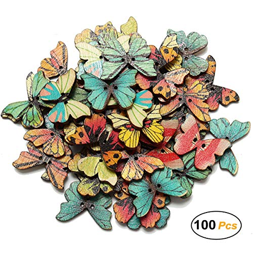 100 Pcs Colorful 2 Holes Mixed Butterfly Wooden Button for Sewing Scrapbooking DIY Craft Clothes Accessories, 1 Inch