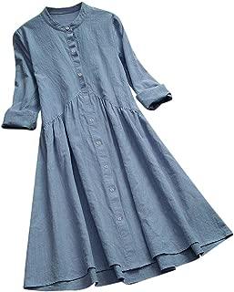 Todaies Women's Kaftan Cotton Long Sleeve Plain Leisure Oversized Maxi Long Shirt Dress