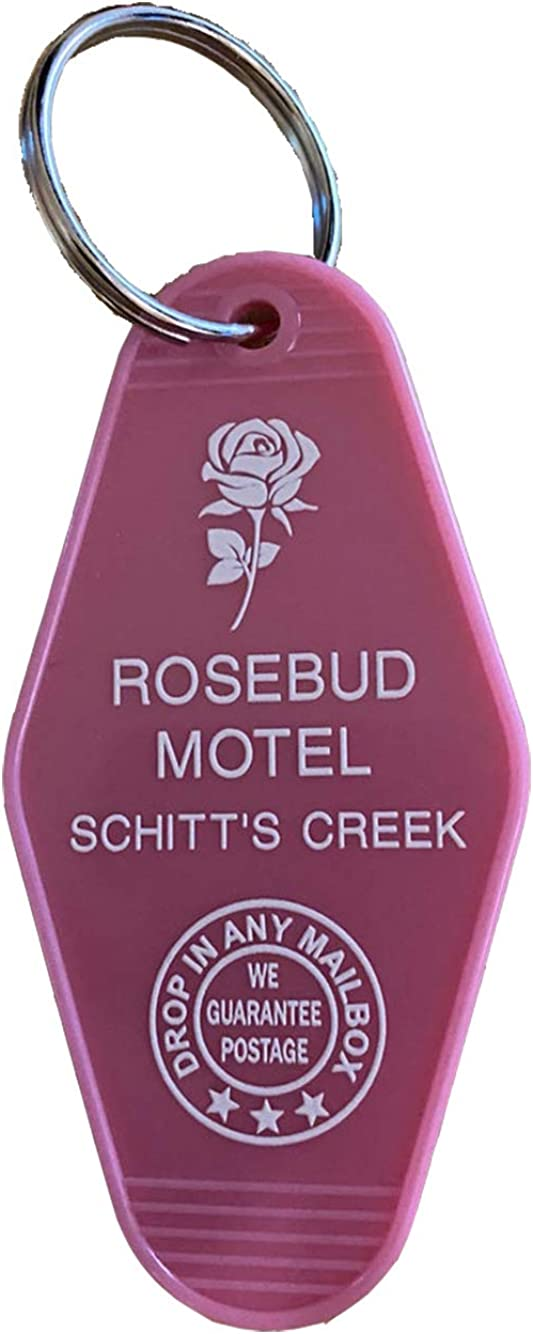 Pink S-Creek Inspired Roebud Motel Keytag, Vintage Style Rosebud Motel Keychain, Motel Key Fob, Rosebud Key Tag