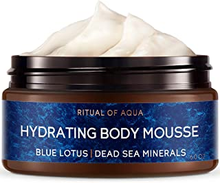 Zeitun Wellness Natural Body Mousse Cream For Women   Ritual Of Aqua   With Dead Sea Minerals And Blue Lotus Extract   Intensive Hydration Body Moisturizer For Dehydrated Skin – 6 oz / 200 ml