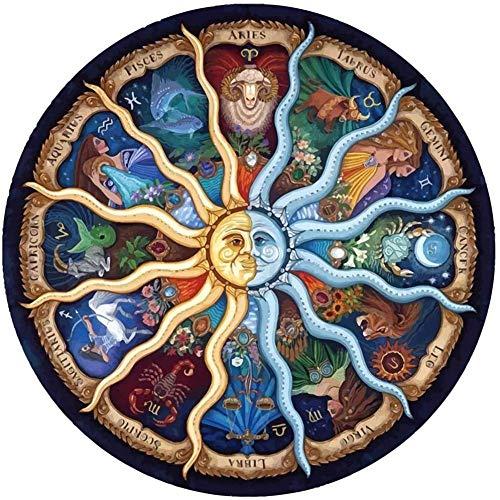 luckykyky 5D DIY Diamant Peinture Mosaïque Mandala Série Soleil Dieu Zodiaque Horoscope Cristal de Bande Dessinée Point De Croix Pleine Couture Broderie Diamant Rond 40x50 cm