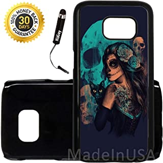 Custom Galaxy S7 Case (Day Of The Dead Women Black Cat And Skull) Edge-to-Edge Plastic Black Cover Ultra Slim | Lightweight | Includes Stylus Pen by Innosub
