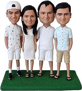 Estatuillas de figuras familiares de cuatro personas figuras del miembro del equipo figuras bobblejead personalizadas en f...