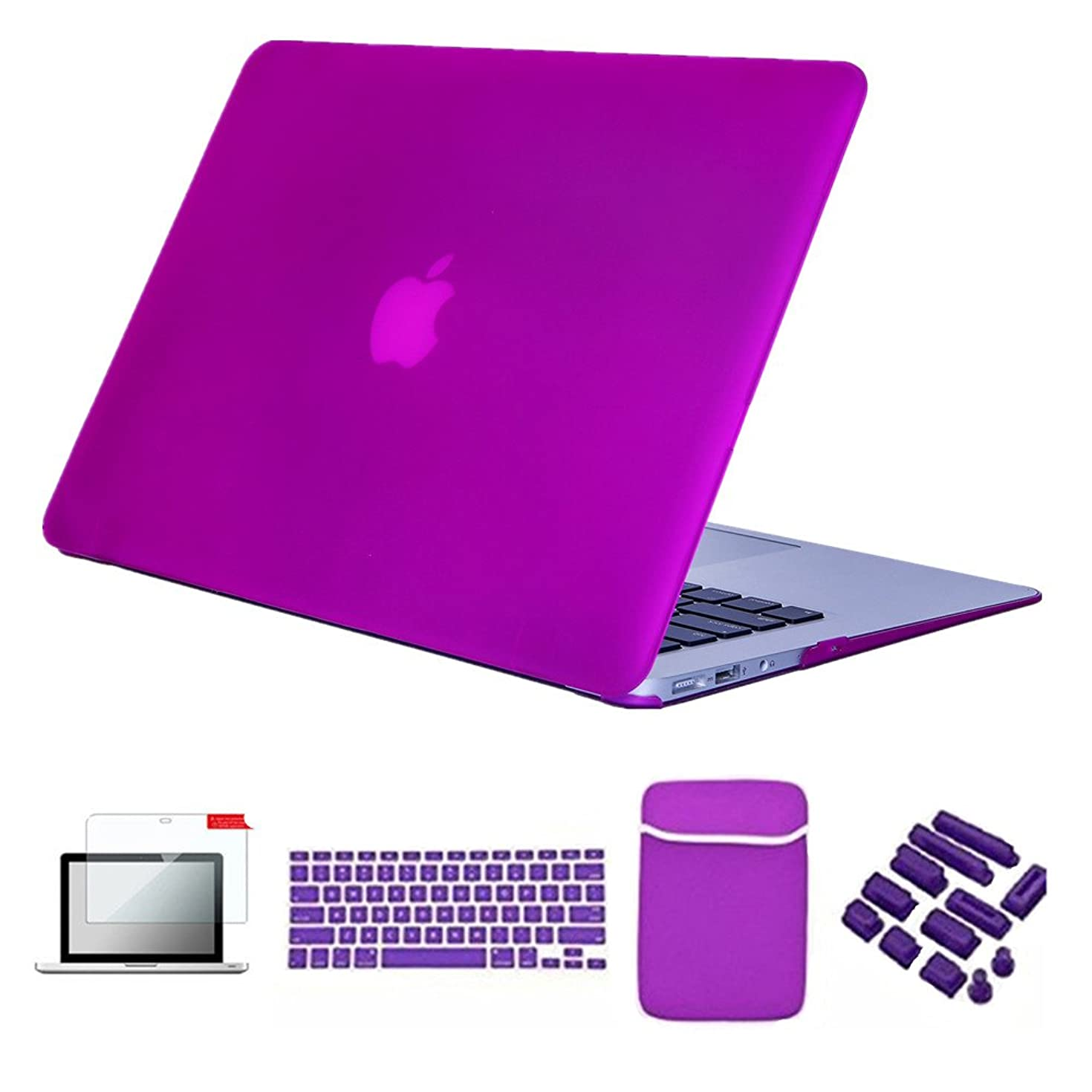 Se7enline MacBook Pro Case Bundle 5 in 1 Set Soft-Touch Plastic Hard Cover Cases for MacBook Pro 13 in A1278 Release 2010-2012 Soft Sleeve Bag, Keyboard Cover,Screen Protector, Dust Plug, Deep Purple