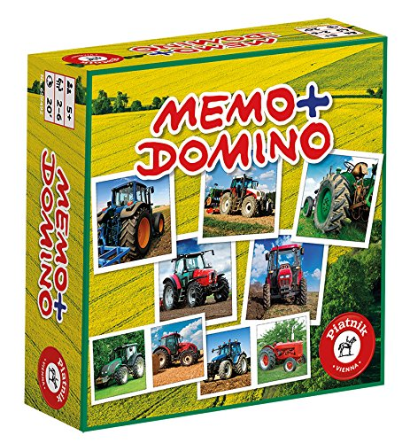 Piatnik 6594 - Kompaktspiel Memo Domino - Traktoren