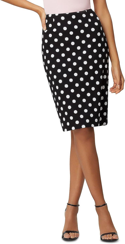 Kasper Women's Polka Dot Printed Scuba Crepe Skirt