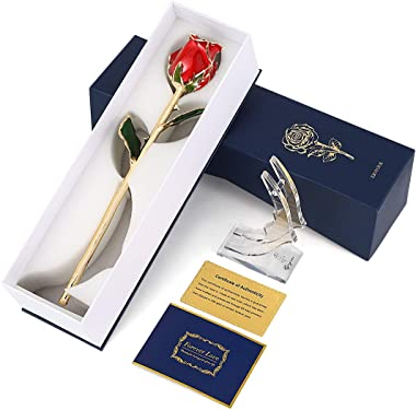 24K Gold Rose Red Fresh Rose Dipped in 24 Karat Gold, Natural Shape Rose Flower Gift for Her on Birthday Wedding Anniversary Graduation Housewarming Apology or Thankfulness, Red with Rose Stand