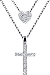 925 Sterling Silver Y-Shaped Love Heart Cross Double Layered Necklace Jewelry Gift for Women Girlfriend Wife