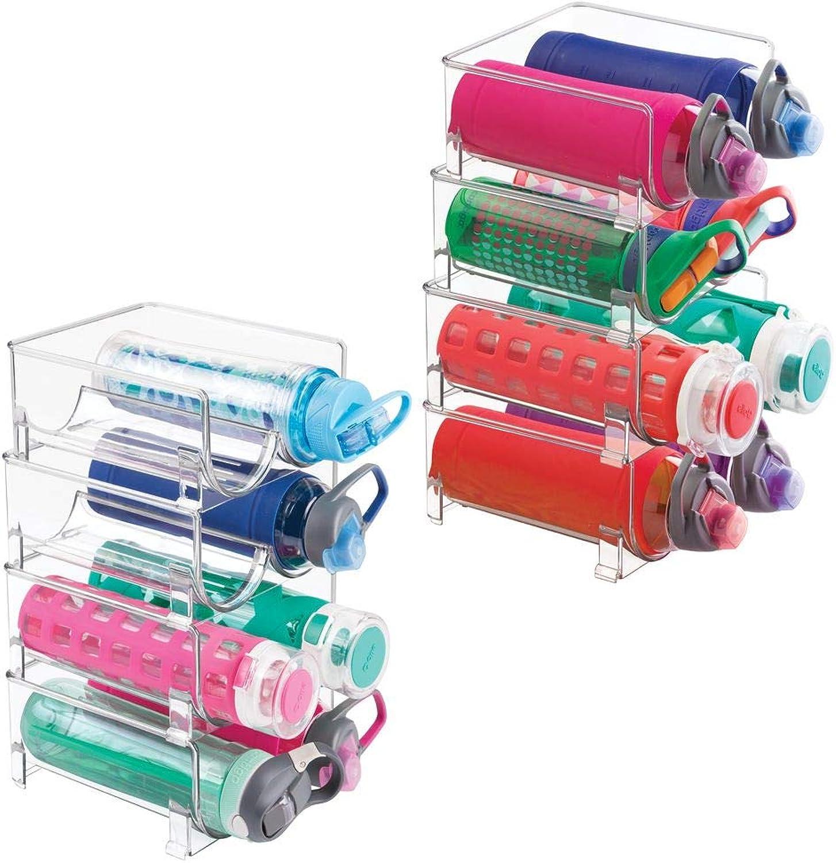 MDesign Plastic Freestanding Water Bottle Storage Organizer for Kitchen Countertop, Table, Pantry, Fridge - Holds Water Bottles, Pop Soda, Wine, Beer - Stackable, 2 Bottles Each, 8 Pack - Clear