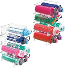 mDesign Plastic Freestanding Water Bottle Storage Organizer for Kitchen Countertop, Table, Pantry, Fridge - Holds Water Bottles, Pop/Soda, Wine, Beer - Stackable, 2 Bottles Each, 8 Pack - Clear